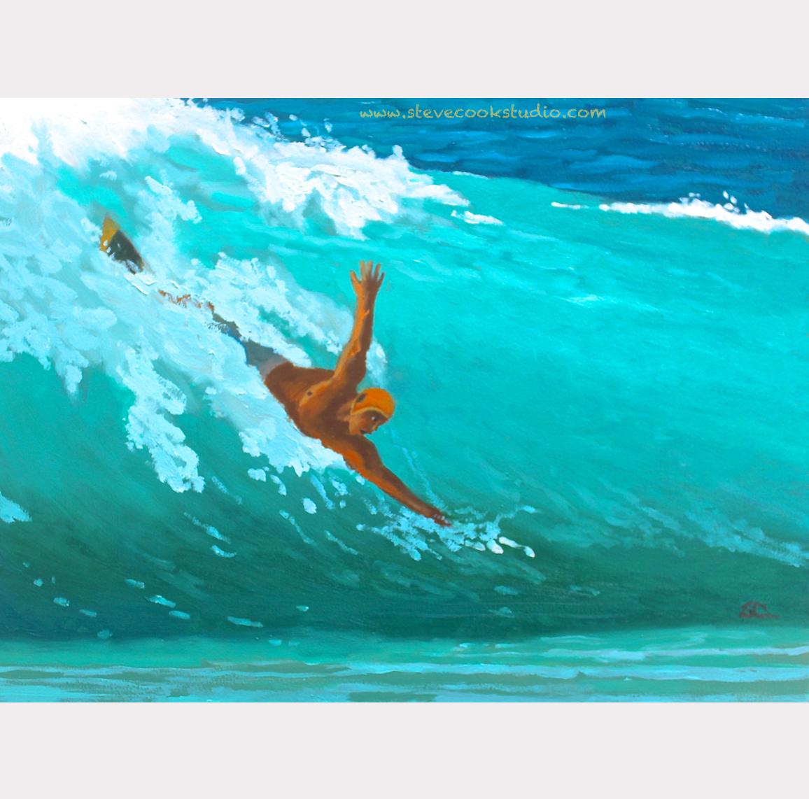 """""""The Bodysurfer"""" oil on panel 12 x 16"""