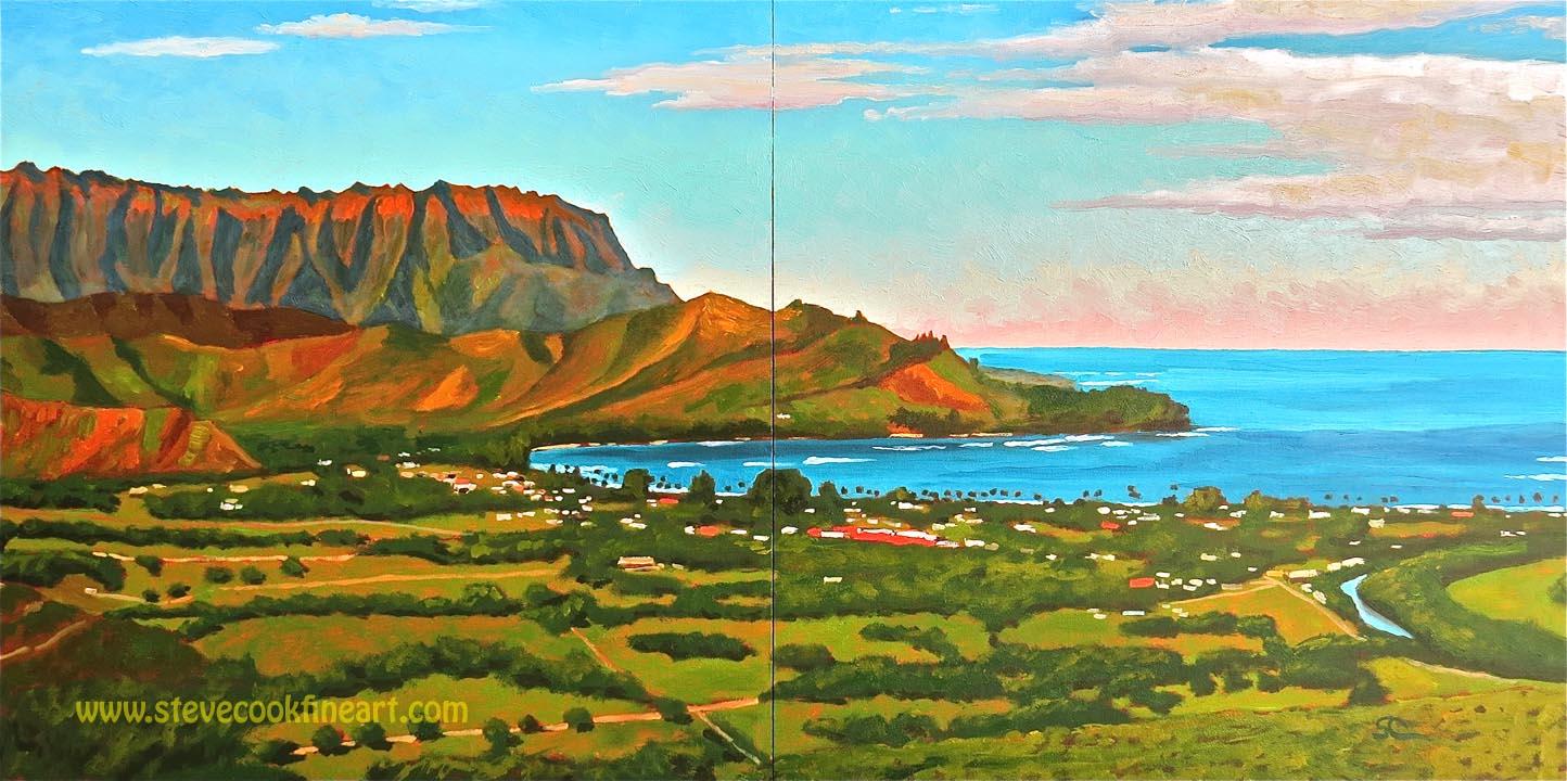 Hanalei Bay from Okolehao Ridge  oil on panel 20x40 diptych