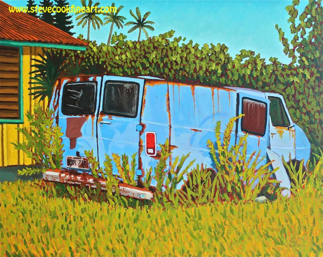 Long Term Parking Kauai Style   oil on canvas 24 x 30