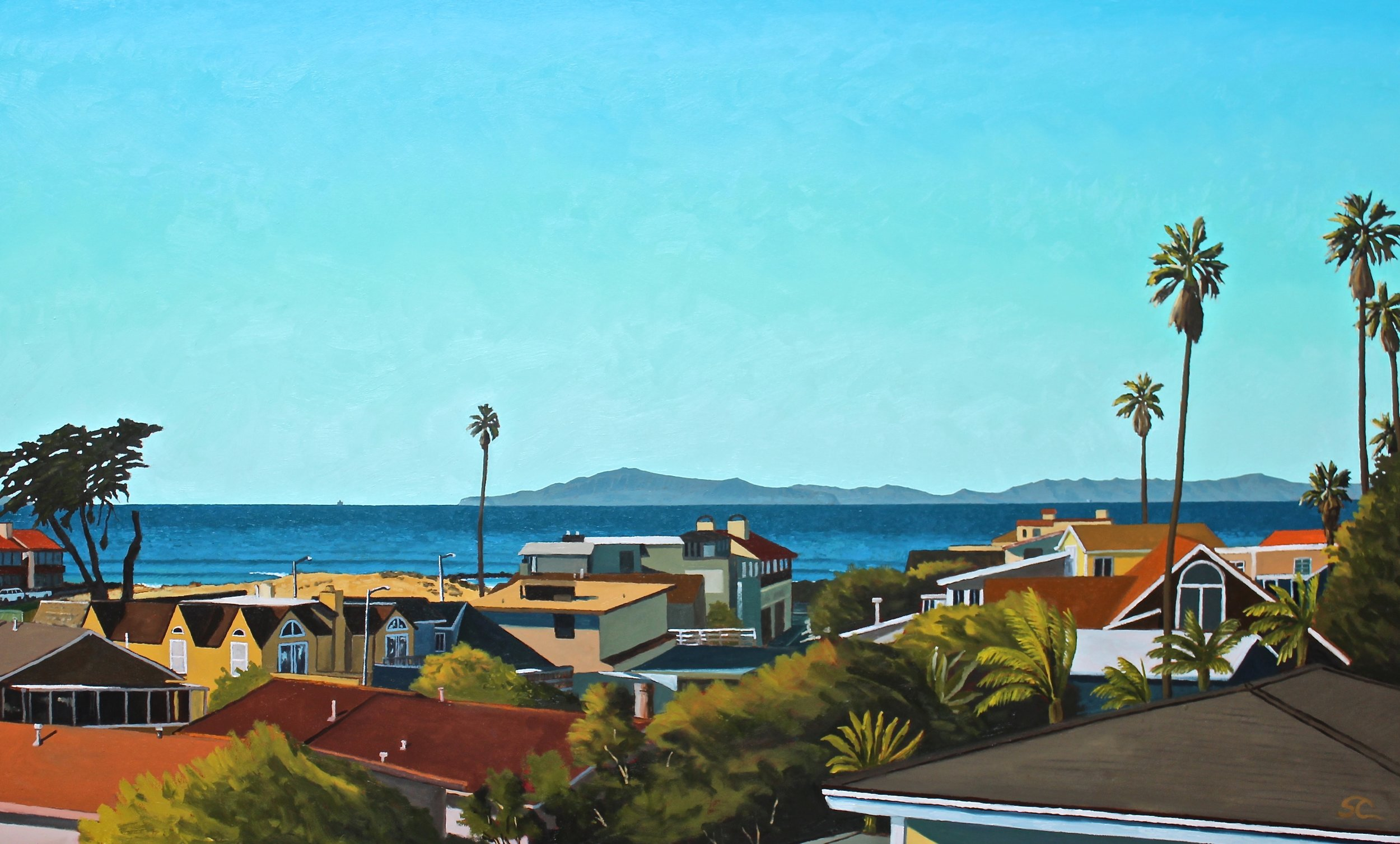 """""""From the Roof of Beach House Pio""""  oil on canvas 36 x 60"""
