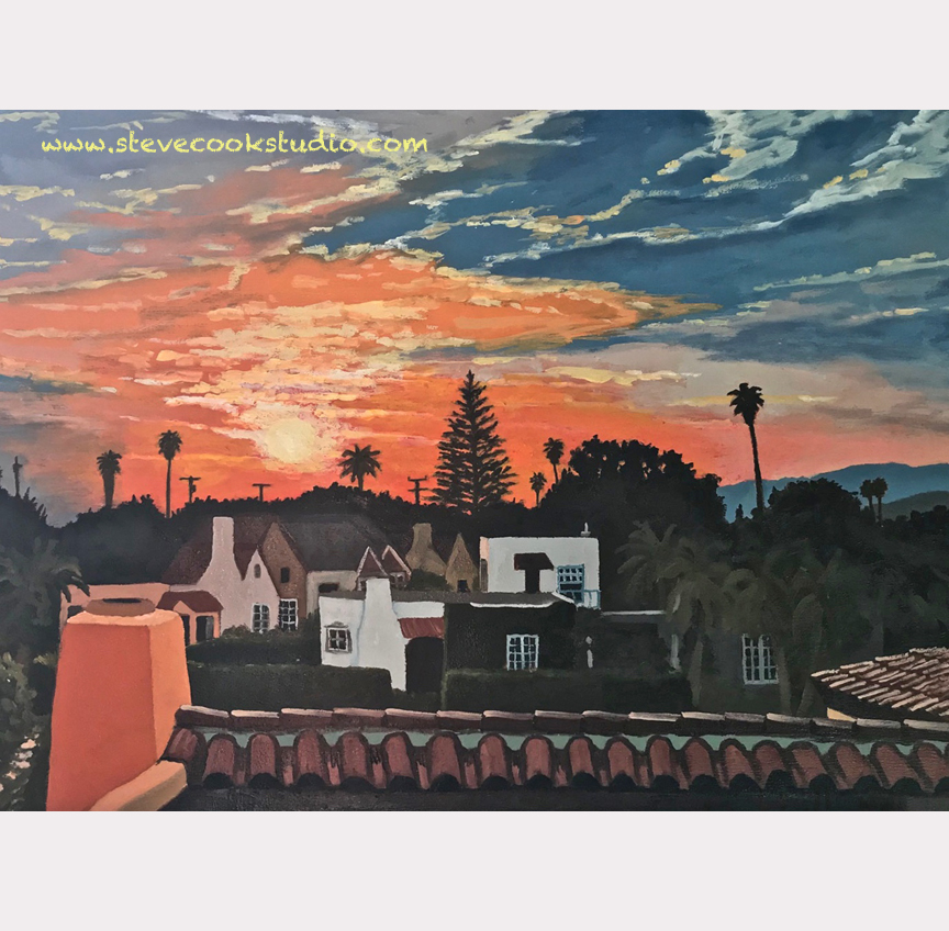 """""""Rooftop Sunset"""" oil on panel 18"""" x 24"""""""