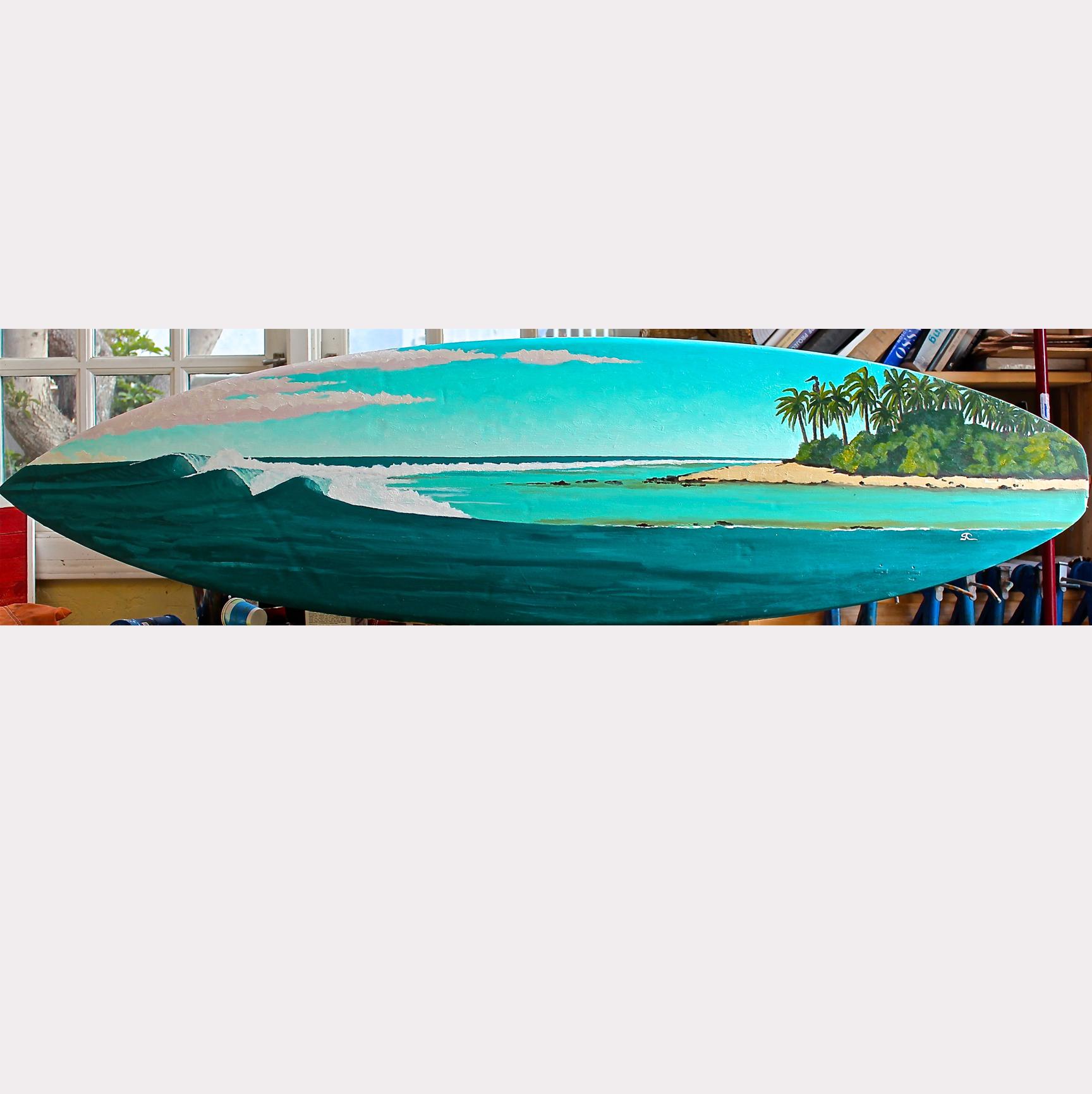 """""""Vaadhoo Reef Pass"""" oilpaint on surfboard"""