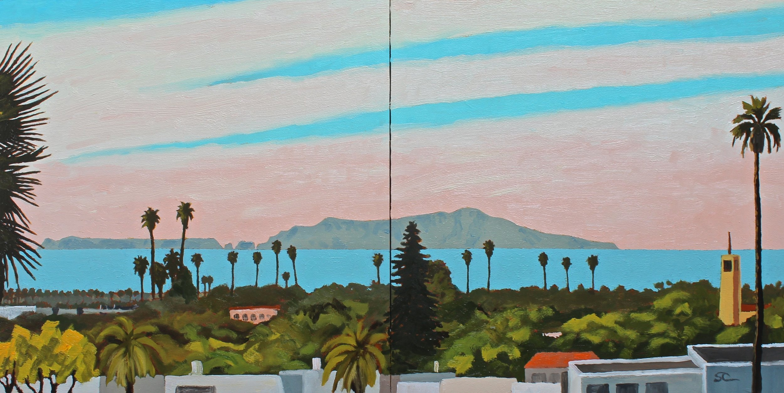 Anacapa Island from the Mormon Church   oil on wood panels, 16x32