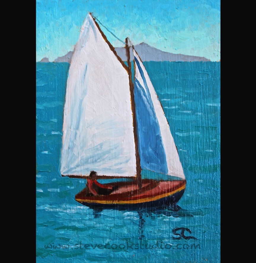 """Sunny Sailing"" oil on panel 5x7"