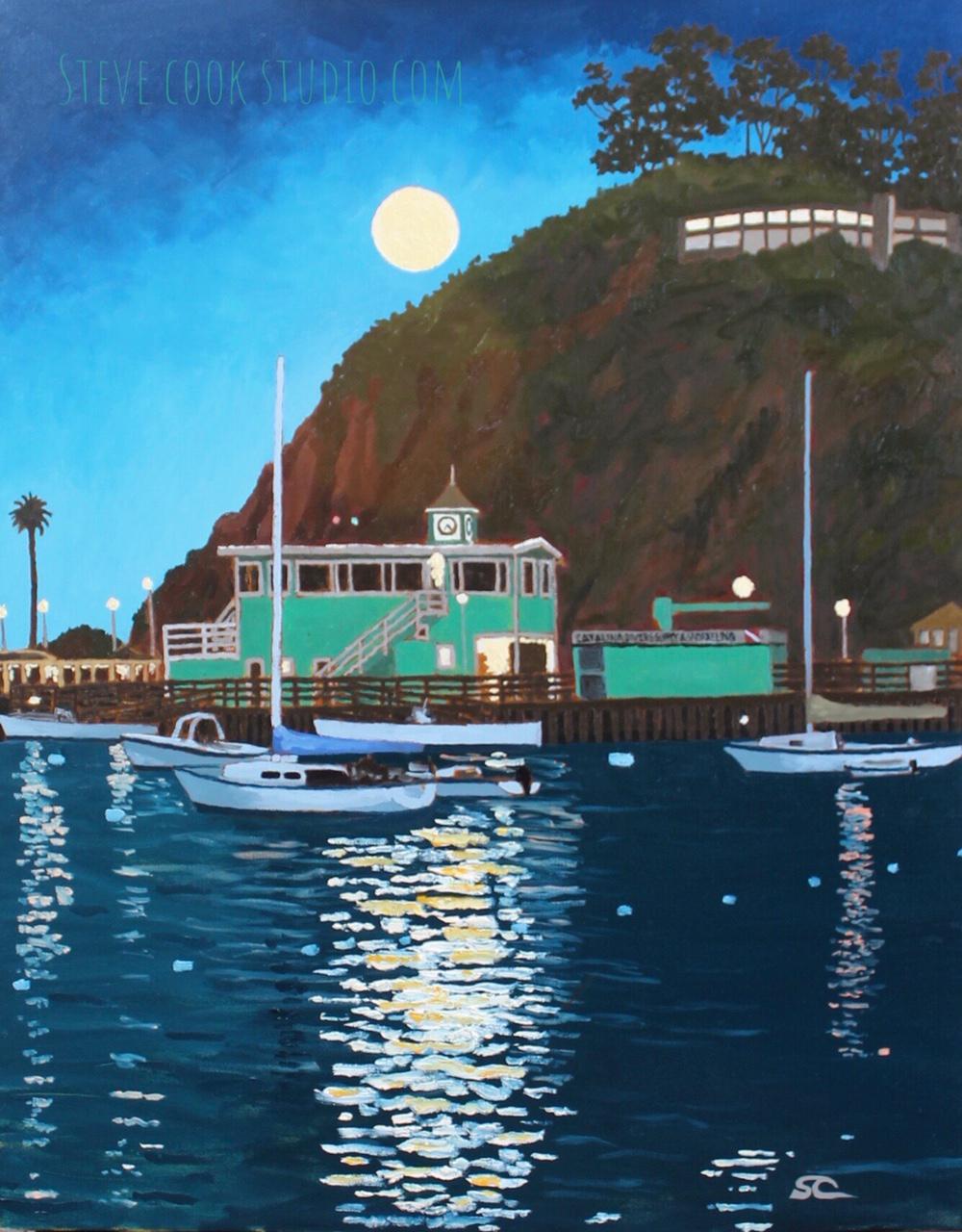 """""""Full Moon Over Avalon"""" oil on canvas 24x30"""