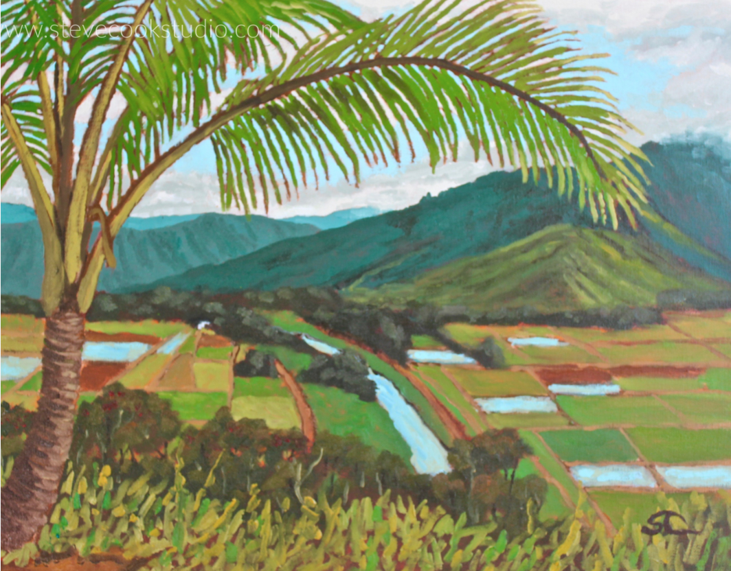 """Hanalei River Valley"" oil on panel 16x20"