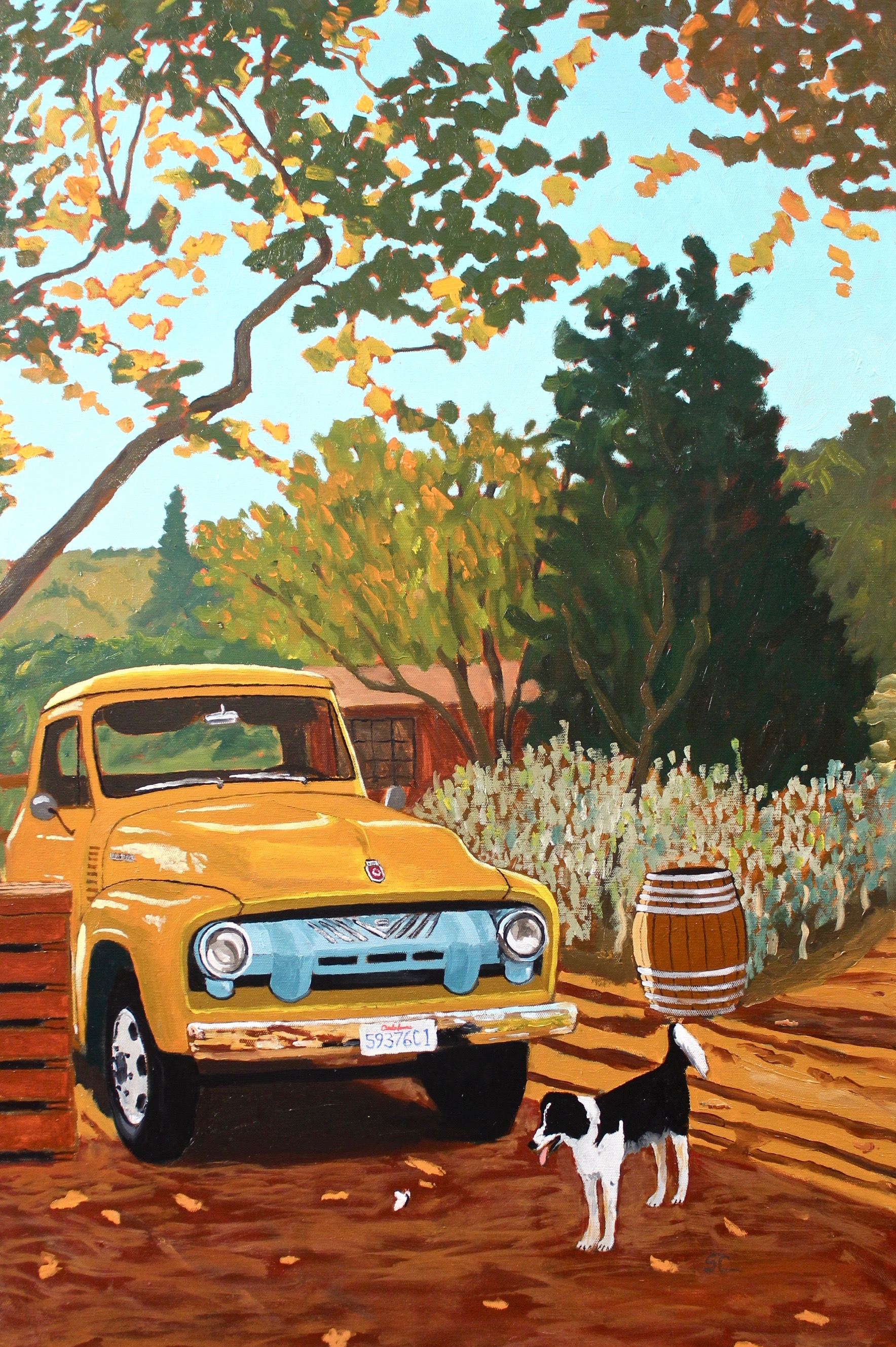"""""""Truck, Dog and Butterfly at Old Creek Ranch Winery"""" oil on canvas 24x36"""
