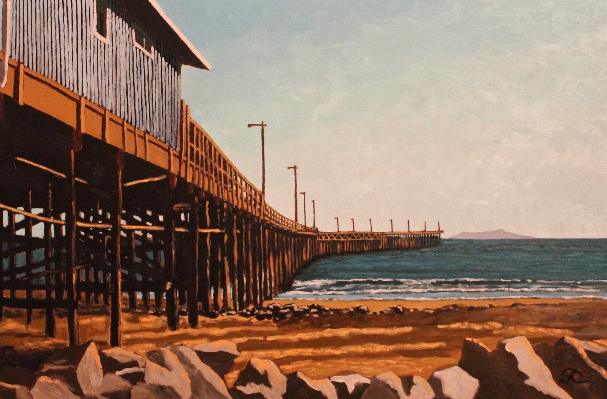 """""""Ventura Pier Before the Storm"""" oil on canvas 24x36"""