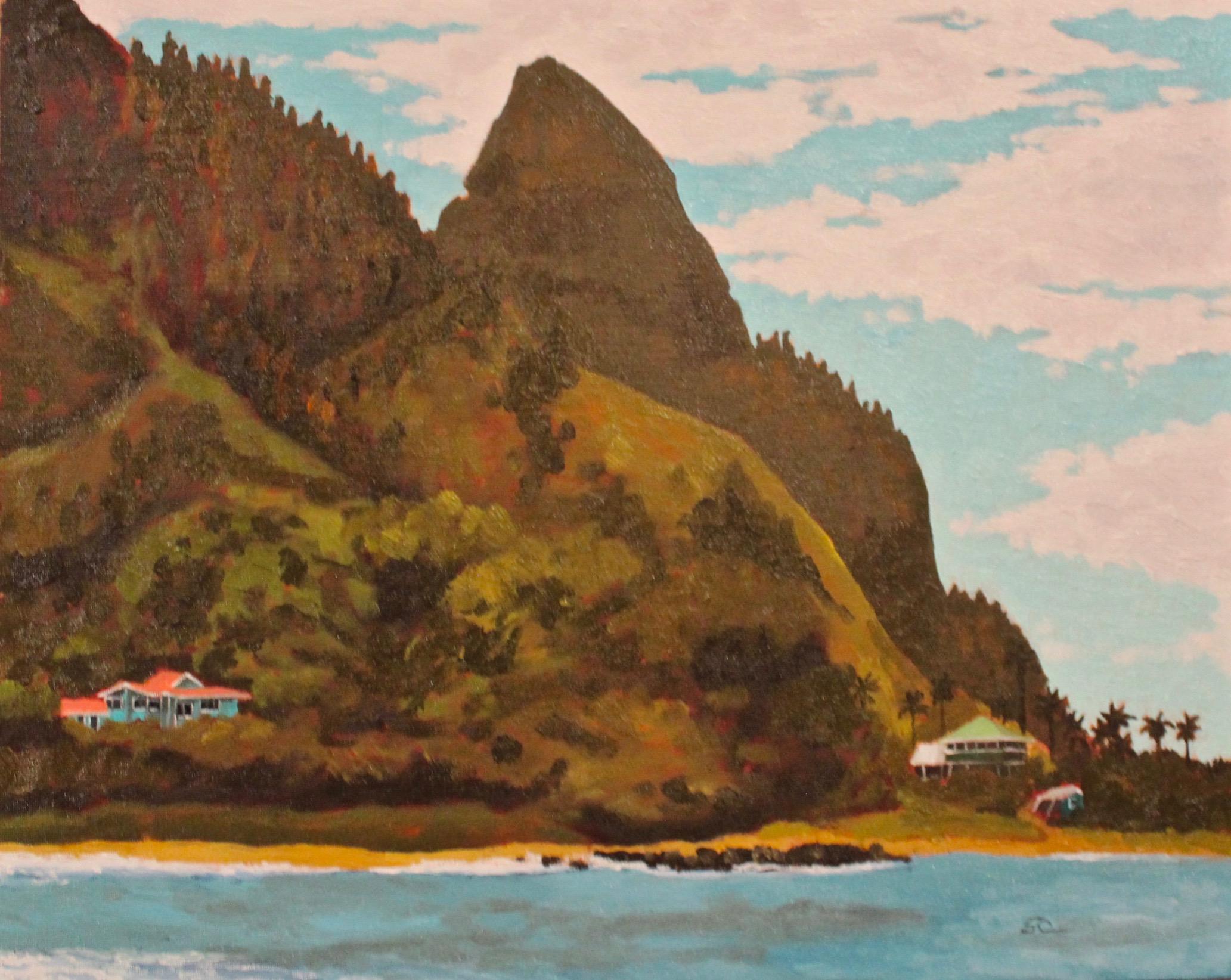"""Mount Makana, Kauai"" oil on panel 16x20"