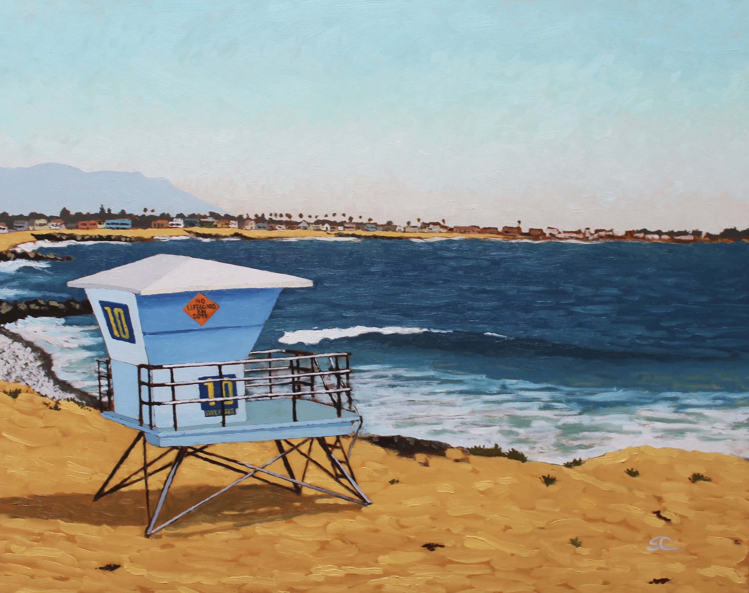 """""""No Lifeguard on Duty"""" oil on canvas 24x30"""
