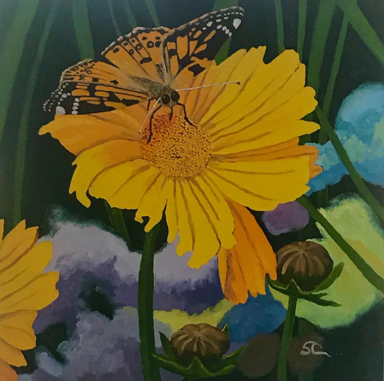 """Painted Ladies"" oil on canvas 30x30"