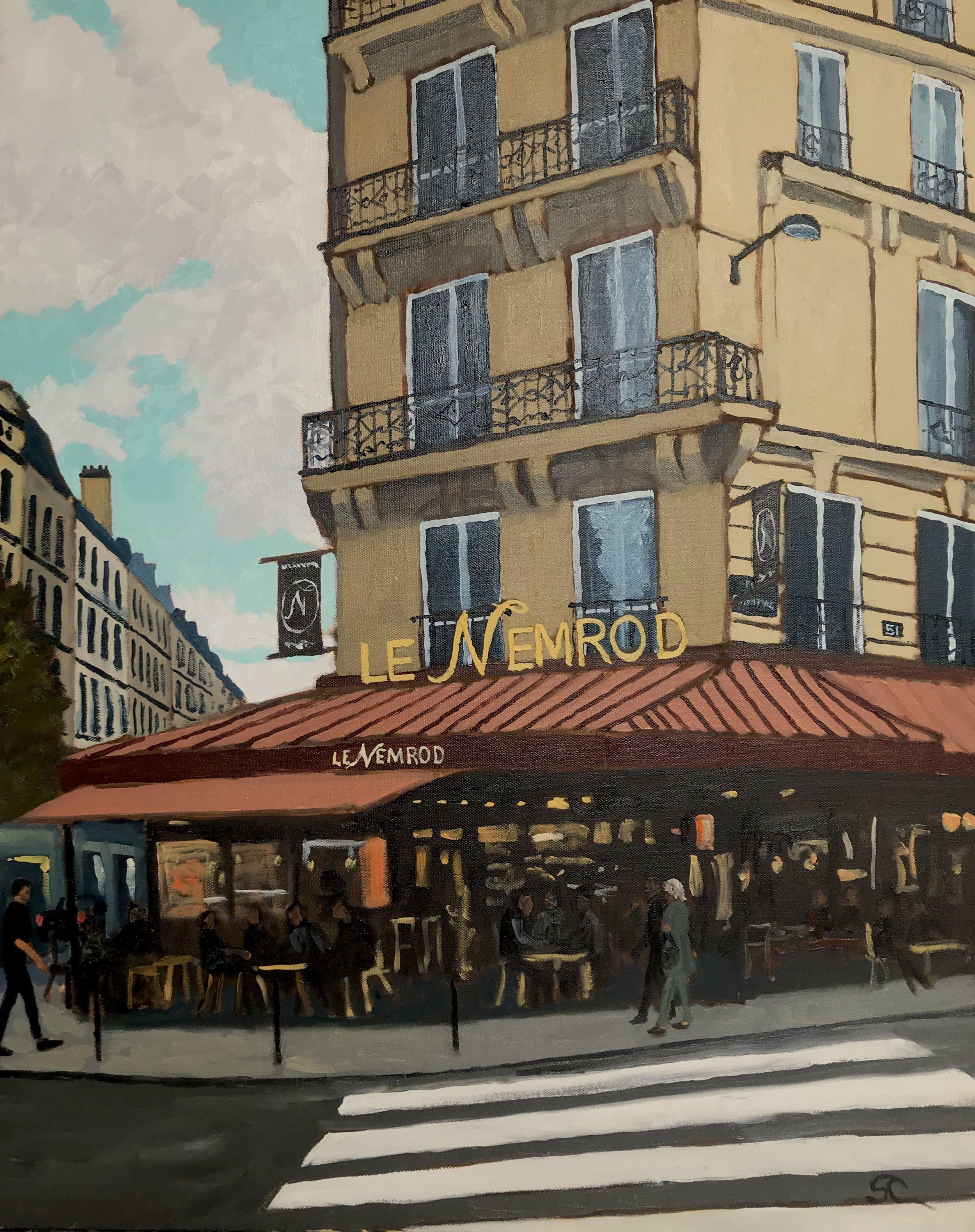 """""""Le Nemrod, Paris"""" oil on canvas 24x30"""