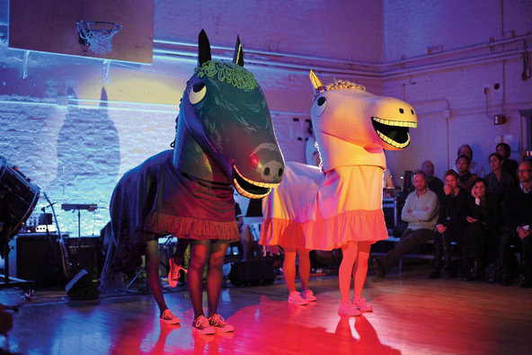 """Mike Kelley, """"Extracurricular Activity Projective Reconstruction #32, Plus,"""" a Performa commission, 2009/Performance at Judson Church, New York/Photograph by Paula Court."""
