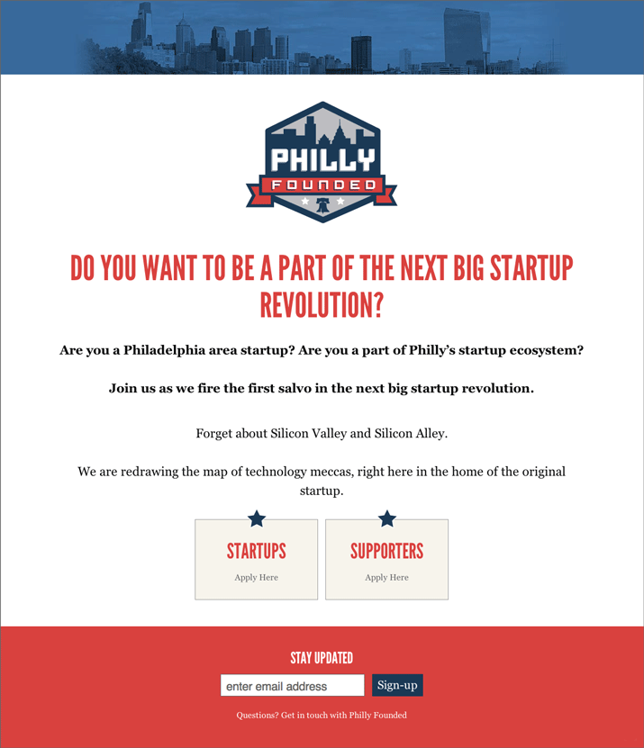 Philly Founded Landing Page