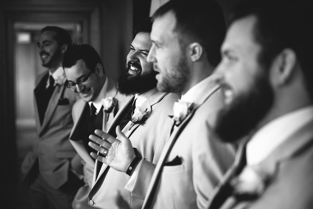 groomsmen bridal party laughing before wedding ceremony - cleveland wedding photographers