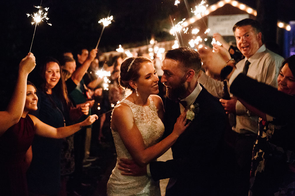 sparkler send off after a wedding at landoll's mohican castle - cleveland wedding photographers