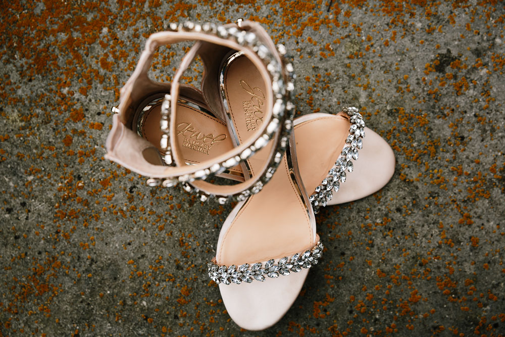 sparkly wedding heals at hines hill conference center