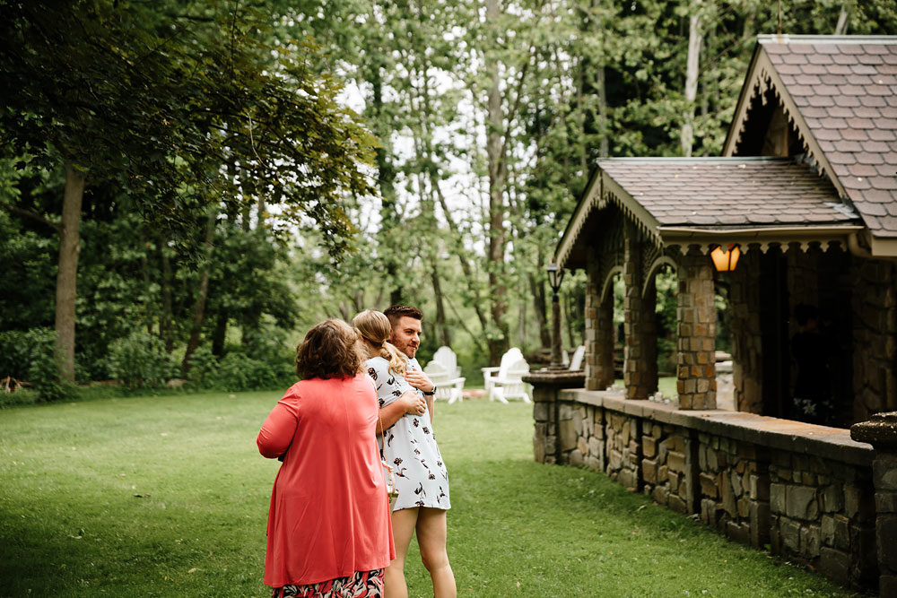 hugs at a wedding at Hines Hill Conference Center in Cuyahoga Valley National Park