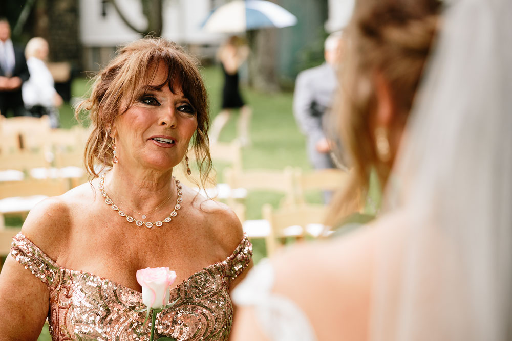 mother of bride looking at bride