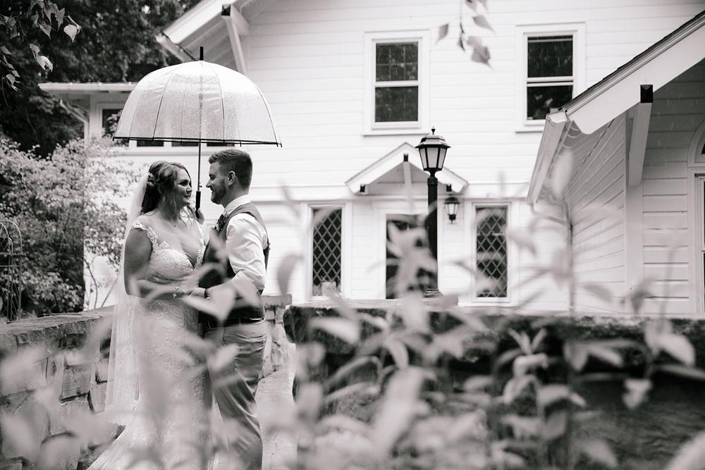 bride and groom under umbrella on rainy day