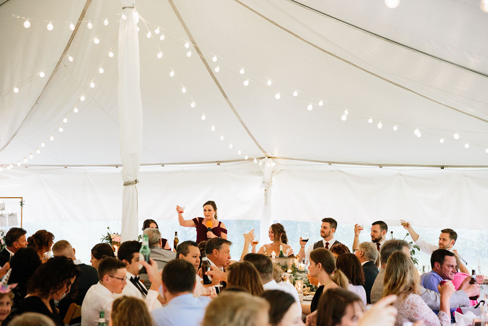 maid of honor gives toast to happy couple