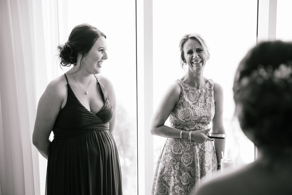 laughing bridal party before wedding