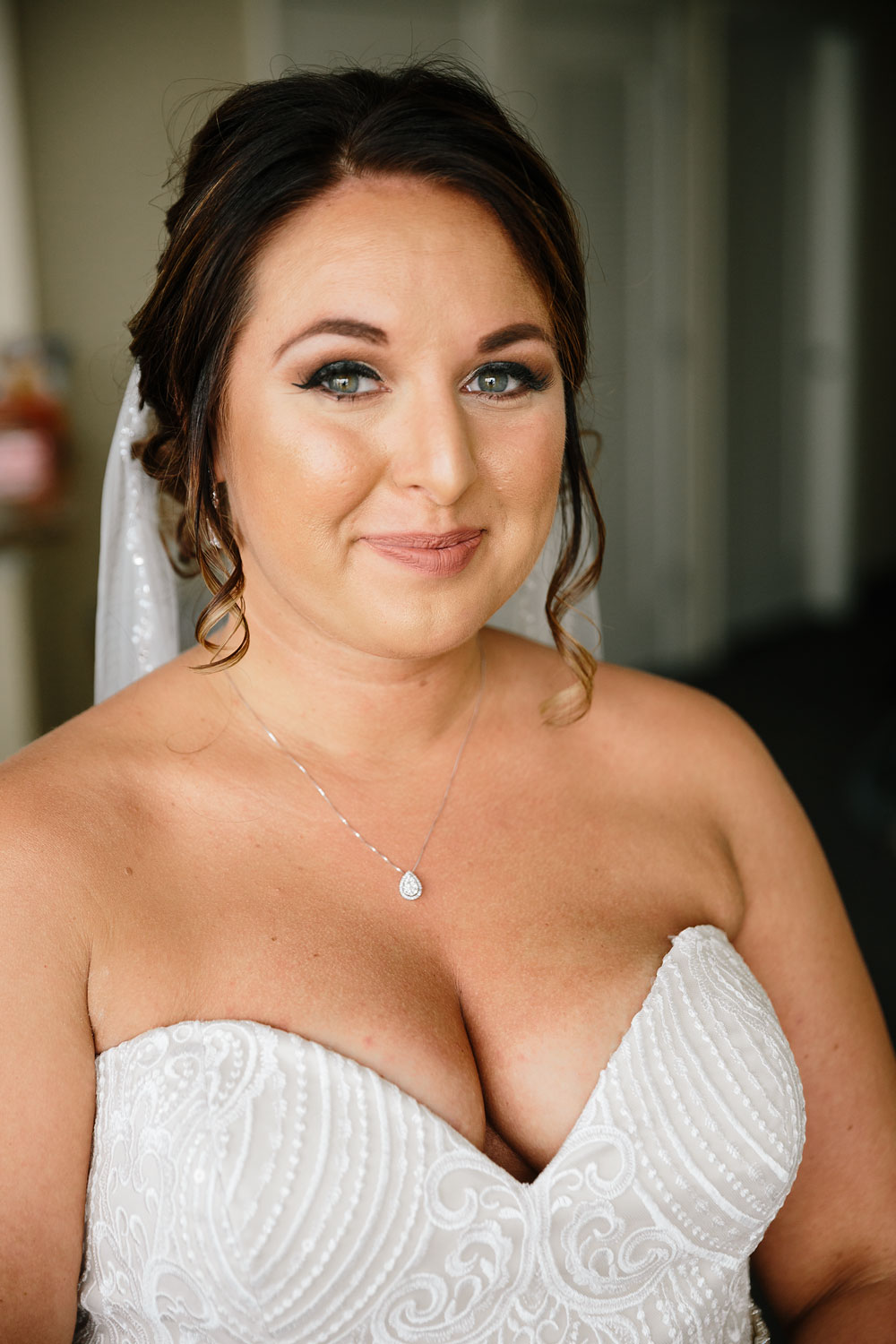 bride smiling before wedding