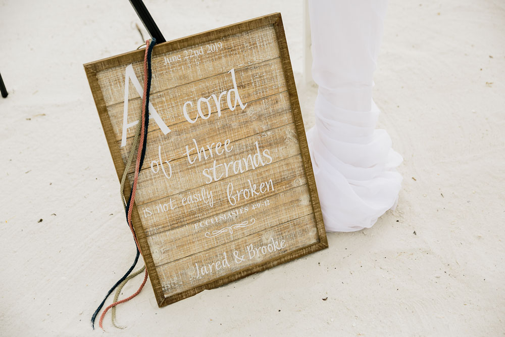 cord wedding tradition sign with saying a cord of three strands is not easily broken