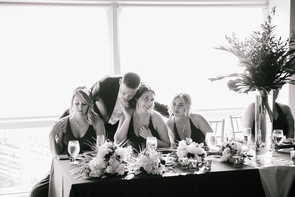 wedding party at front table