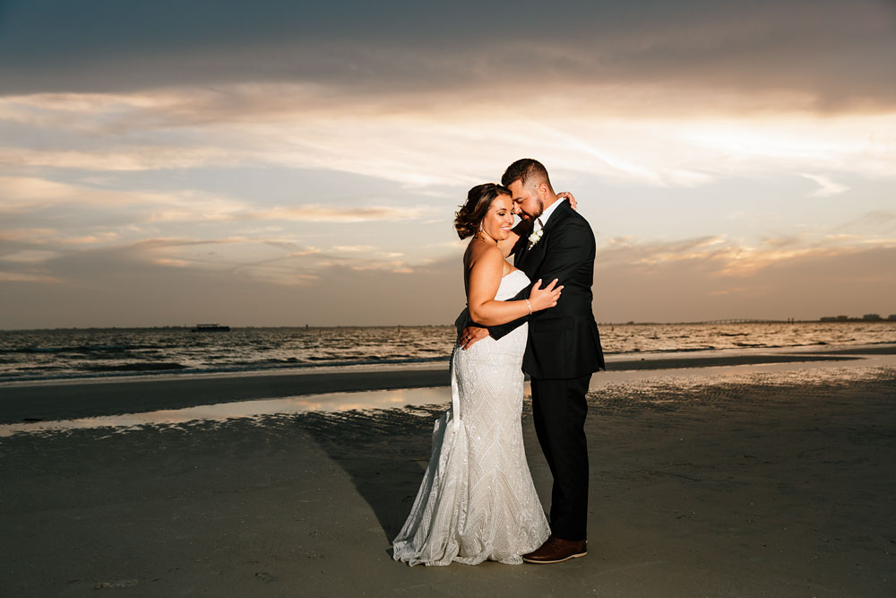 bride and groom sunset on beach
