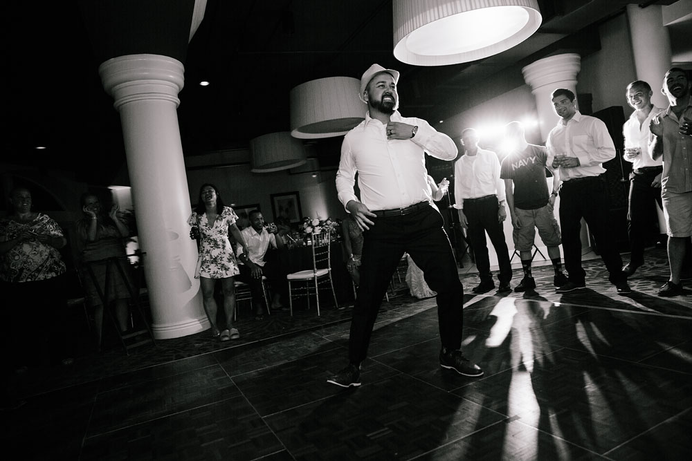 groom dancing at reception