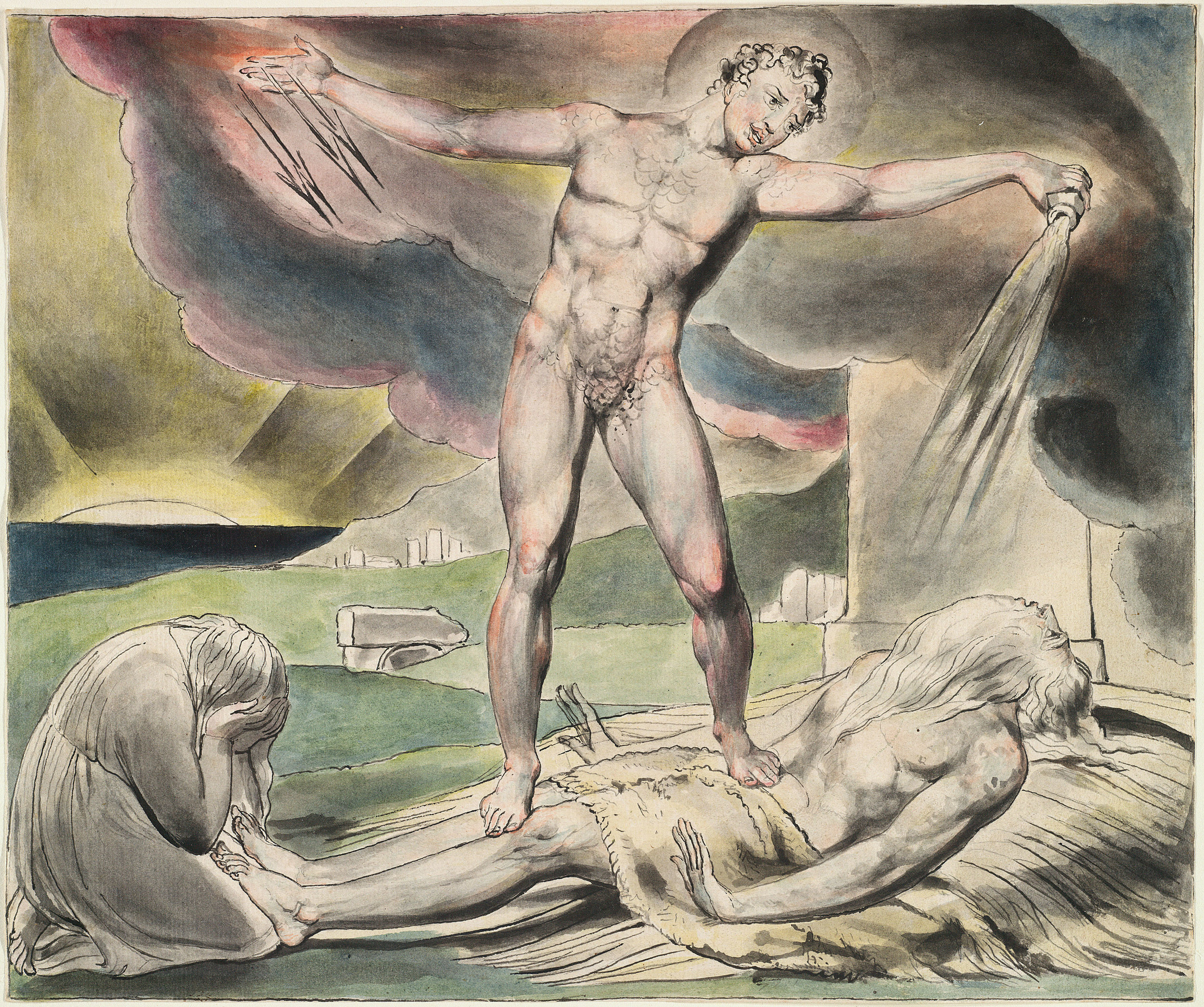 Satan inflicts boils on Job, by William Blake