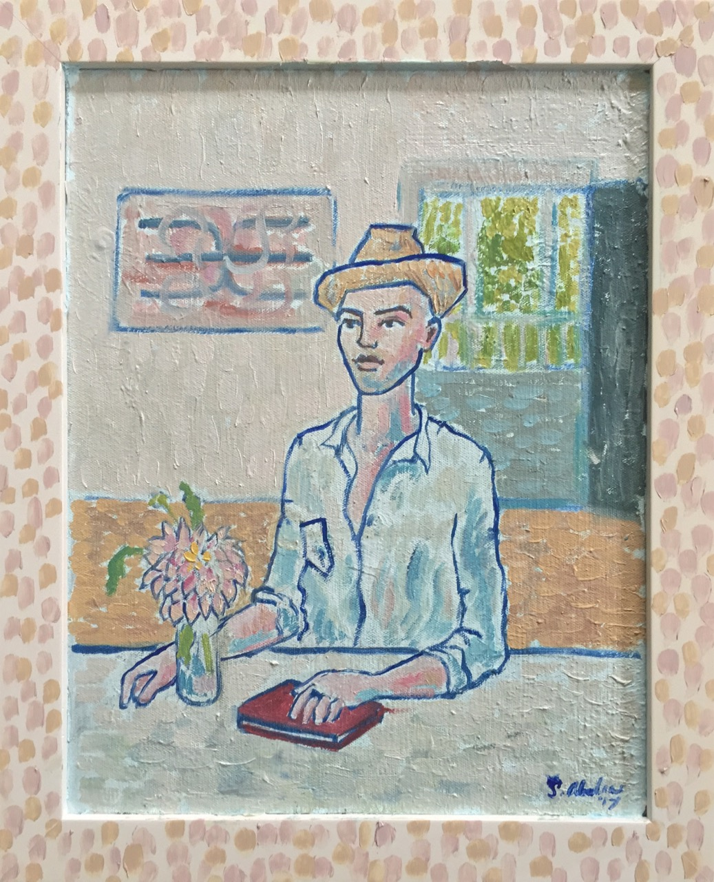 Self Portrait, Interior, Summer 2017, With Hat and Flowers