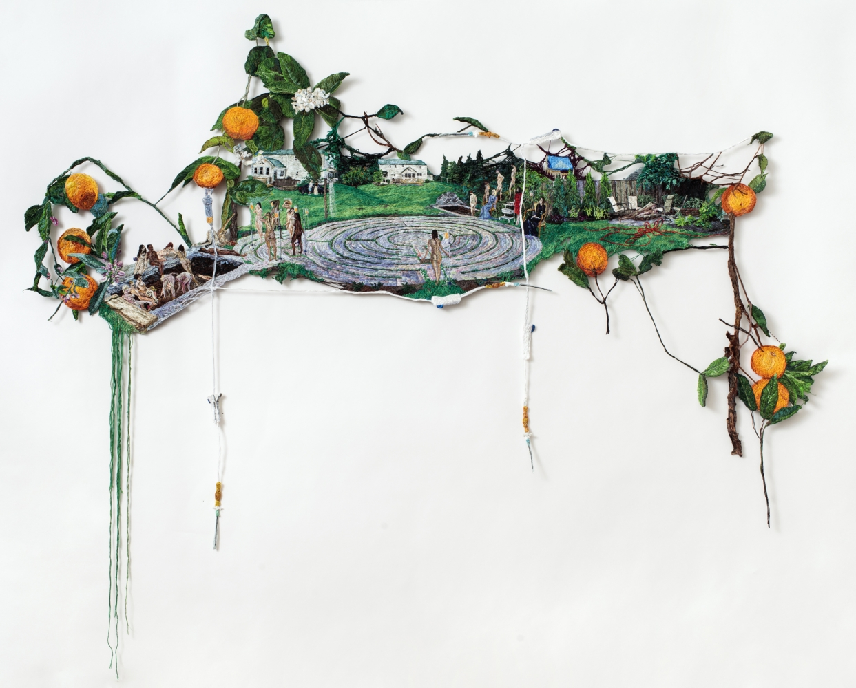 Sophia Narrett. Stuck, 2016. Embroidery thread and fabric, 62 x 38 inches.