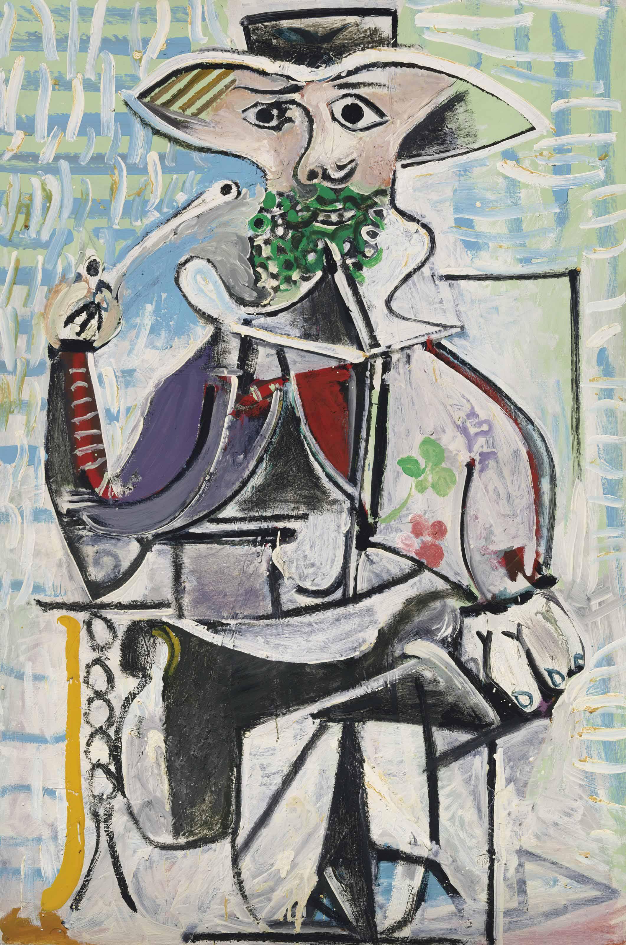"""Homme à la pipe,"" Pablo Picasso, 1969. Oil on canvas, 76 ¾ x 51 1/8 inches..  Photograph via Christie's."