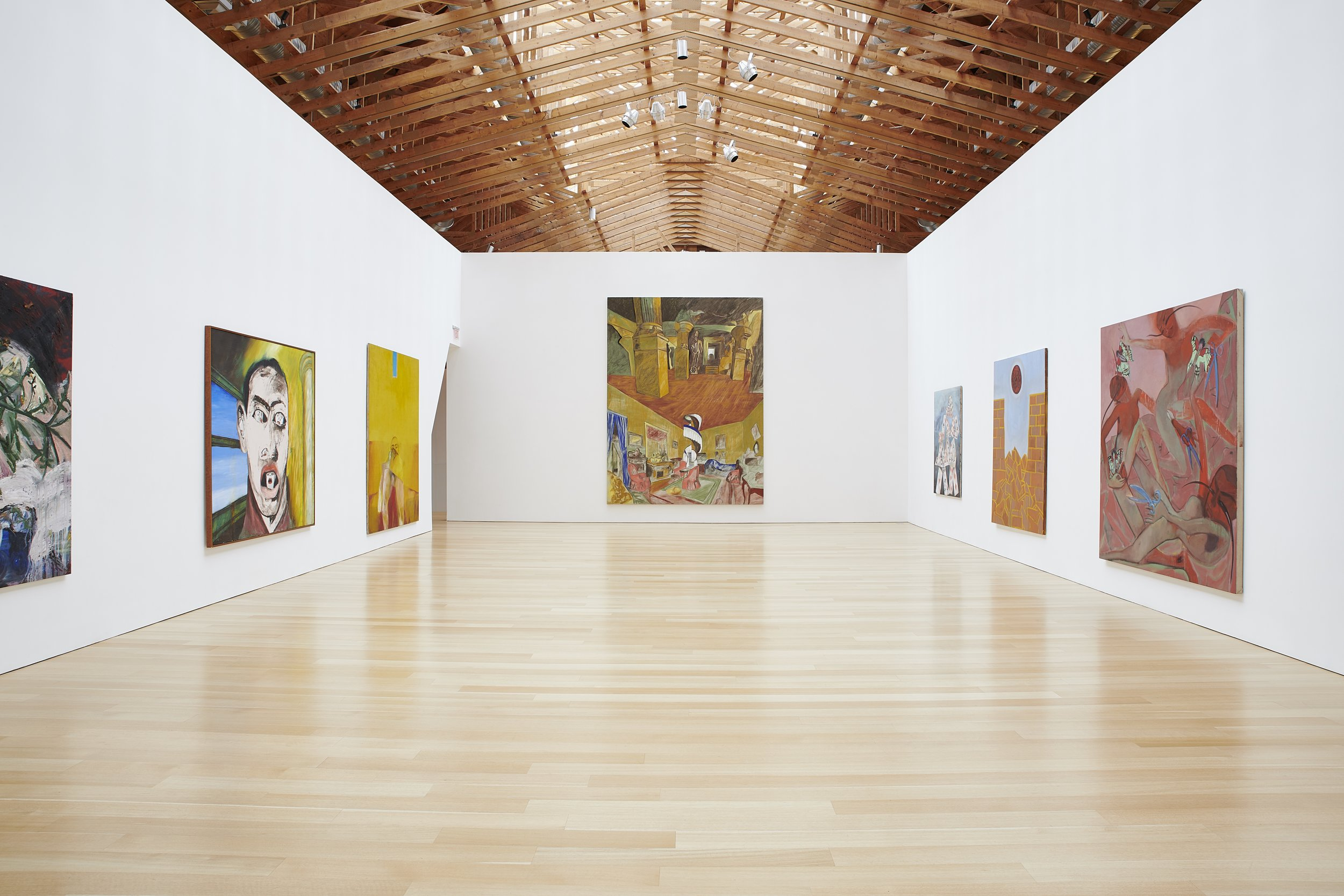 Installation of Clemente paintings at the Brant Foundation. Photograph by Laura Wilson, courtesy of the Brant Foundation.