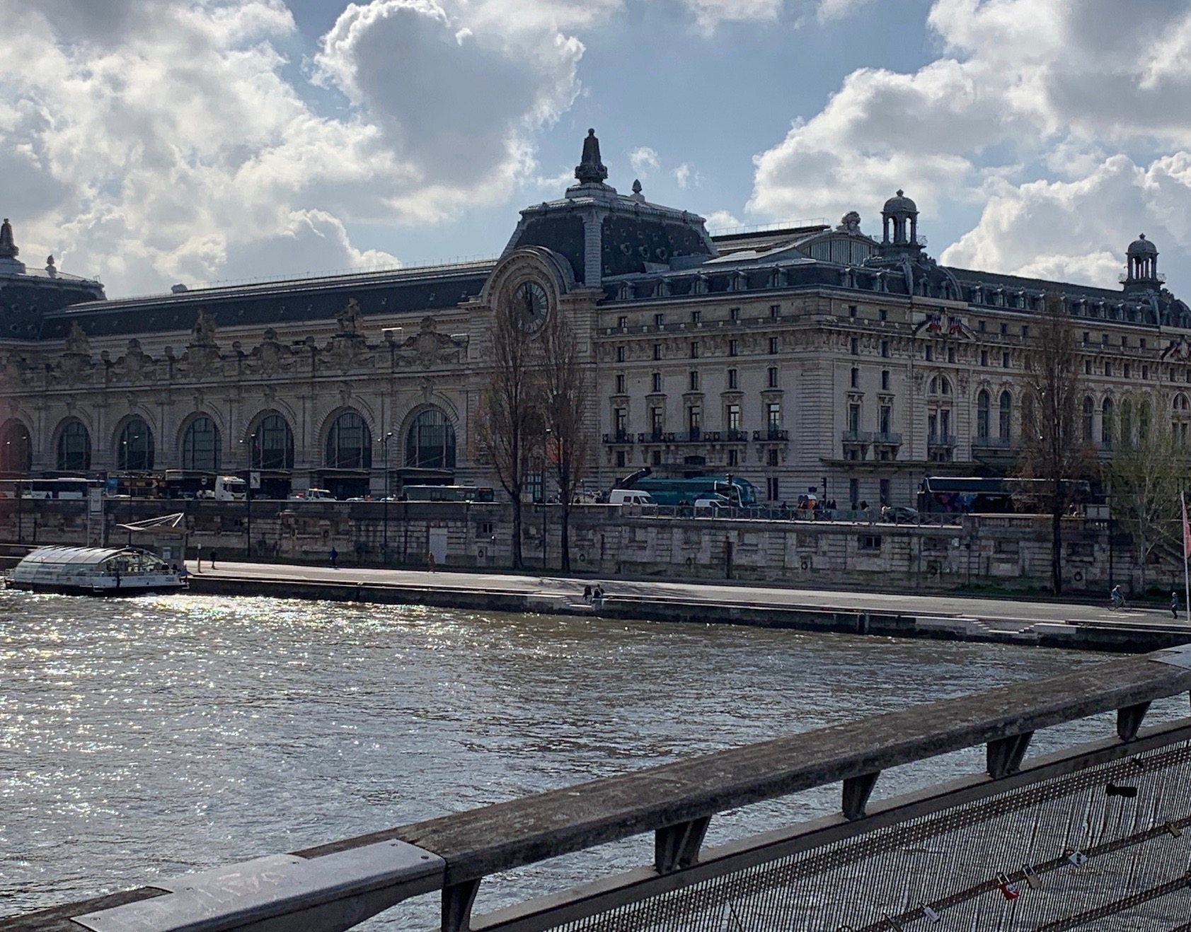 View of the Musée d'Orsay, while crossing the river Seine.