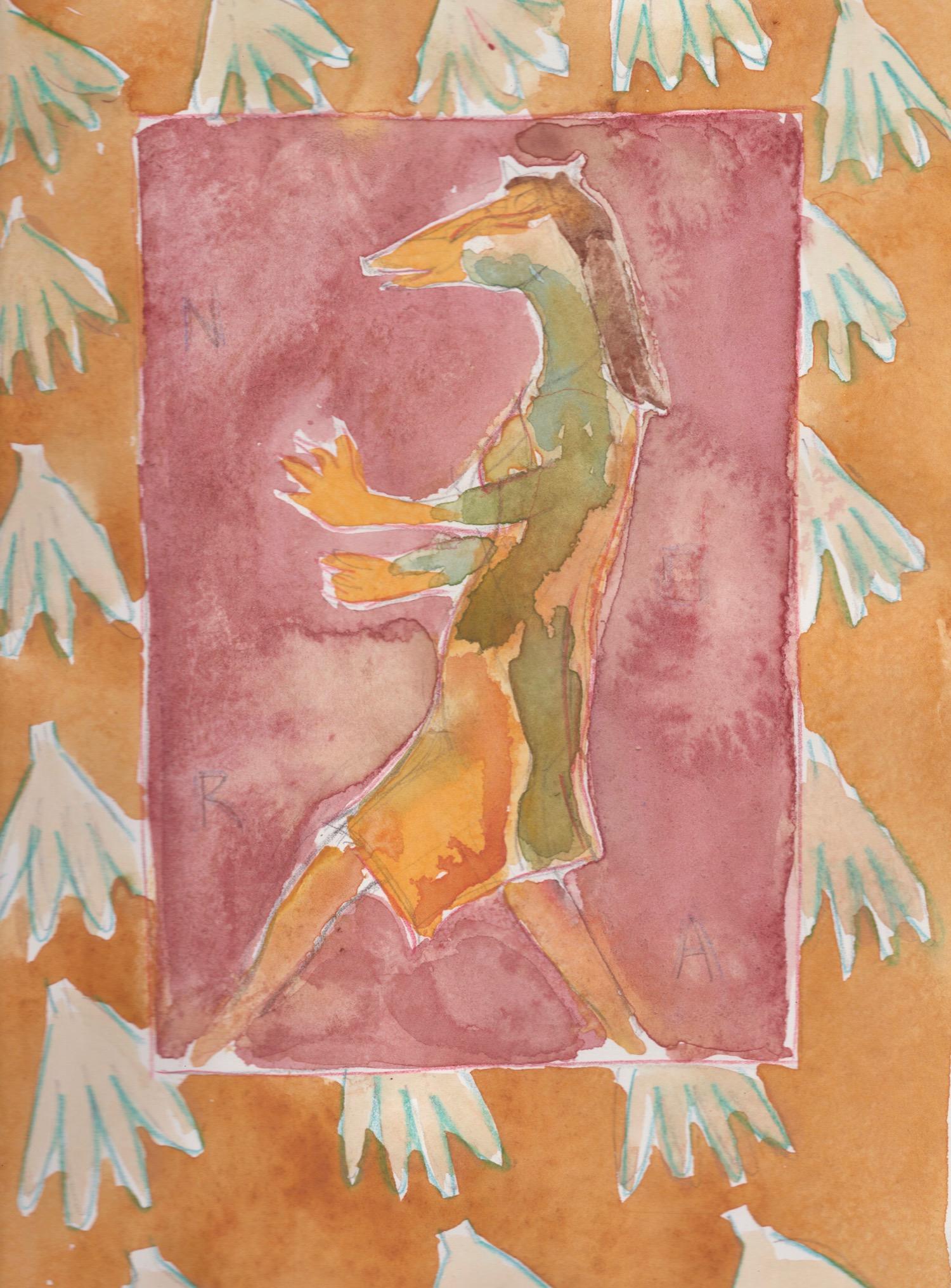 """Nora (Fox),"" Colored pencil, graphite and watercolor on paper, 14 x 11 inches."