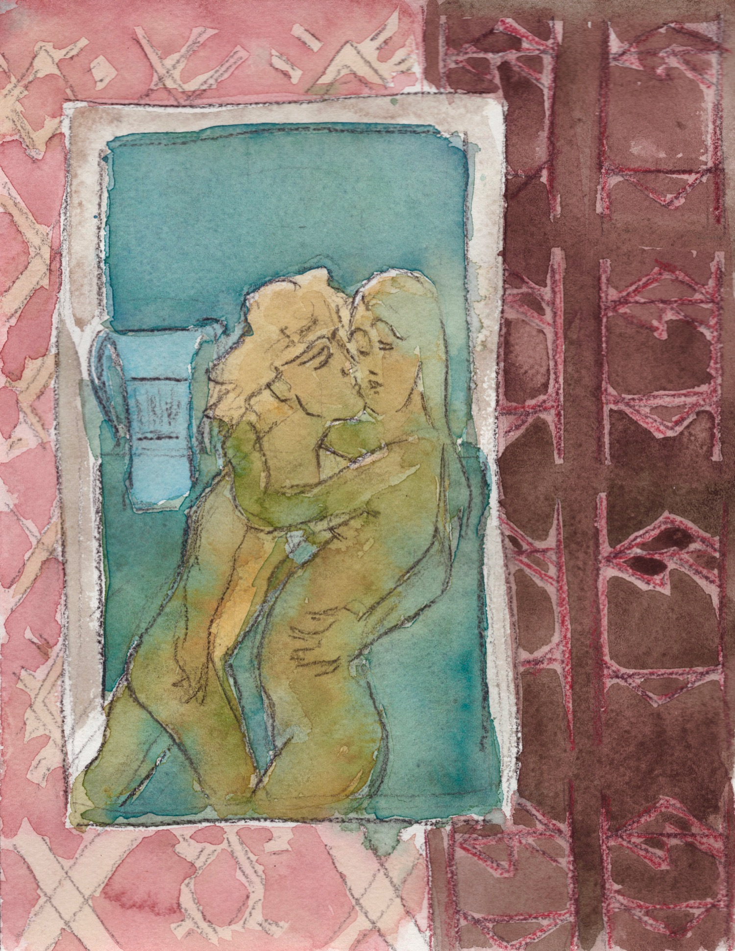 """""""The Kiss (Orpheus and Nora)"""" Graphite, colored pencil and watercolor on paper, 10 x 8 inches."""