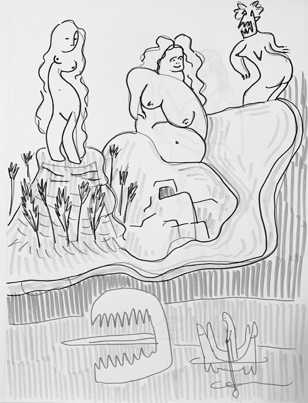 """""""The Artist and Muses,"""" Ink on paper, 12 x 9 inches."""
