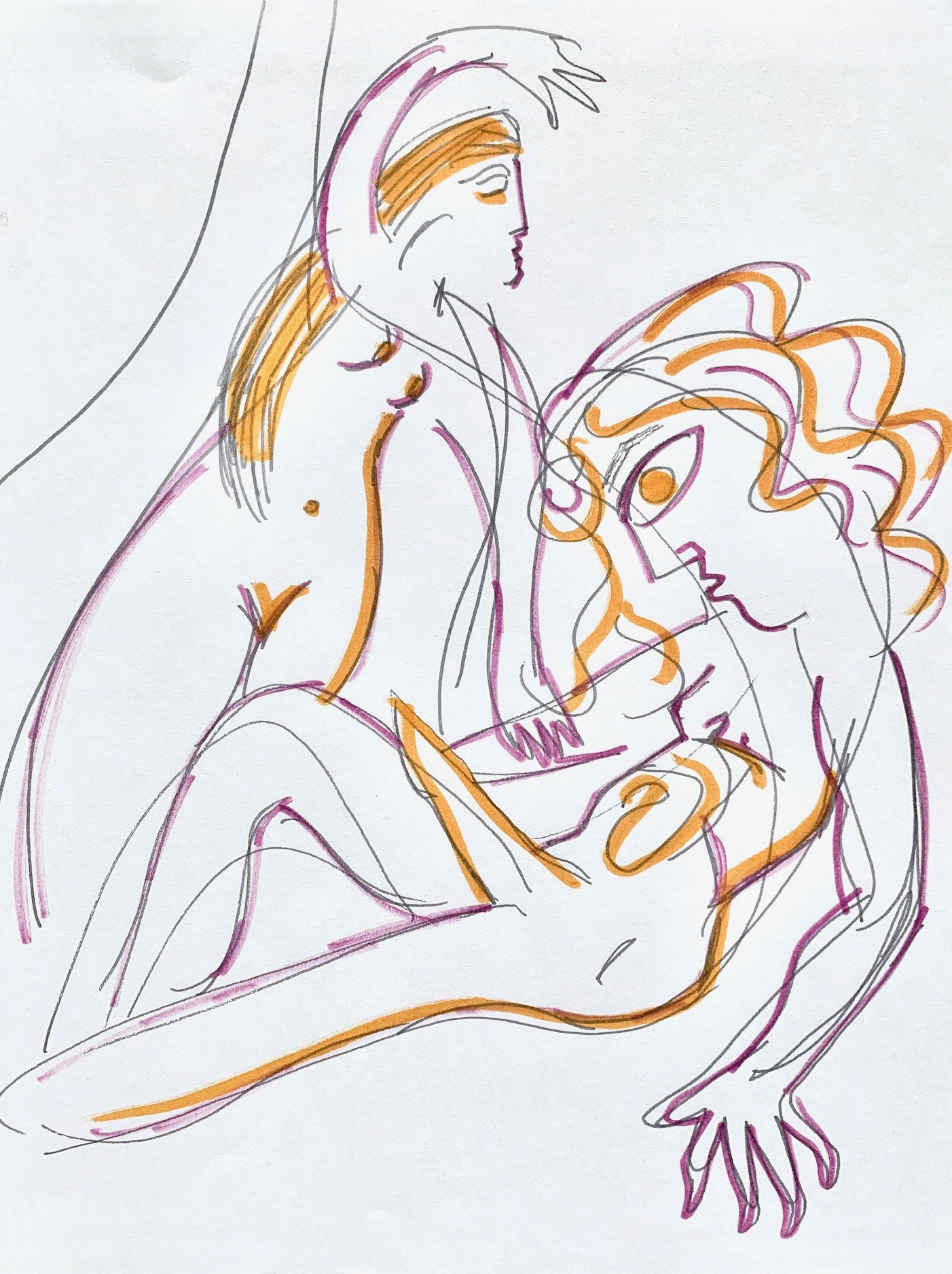 """""""Orpheus and Nora (After Rilke's Sonnet),"""" Ink on paper, 12 x 9 inches."""
