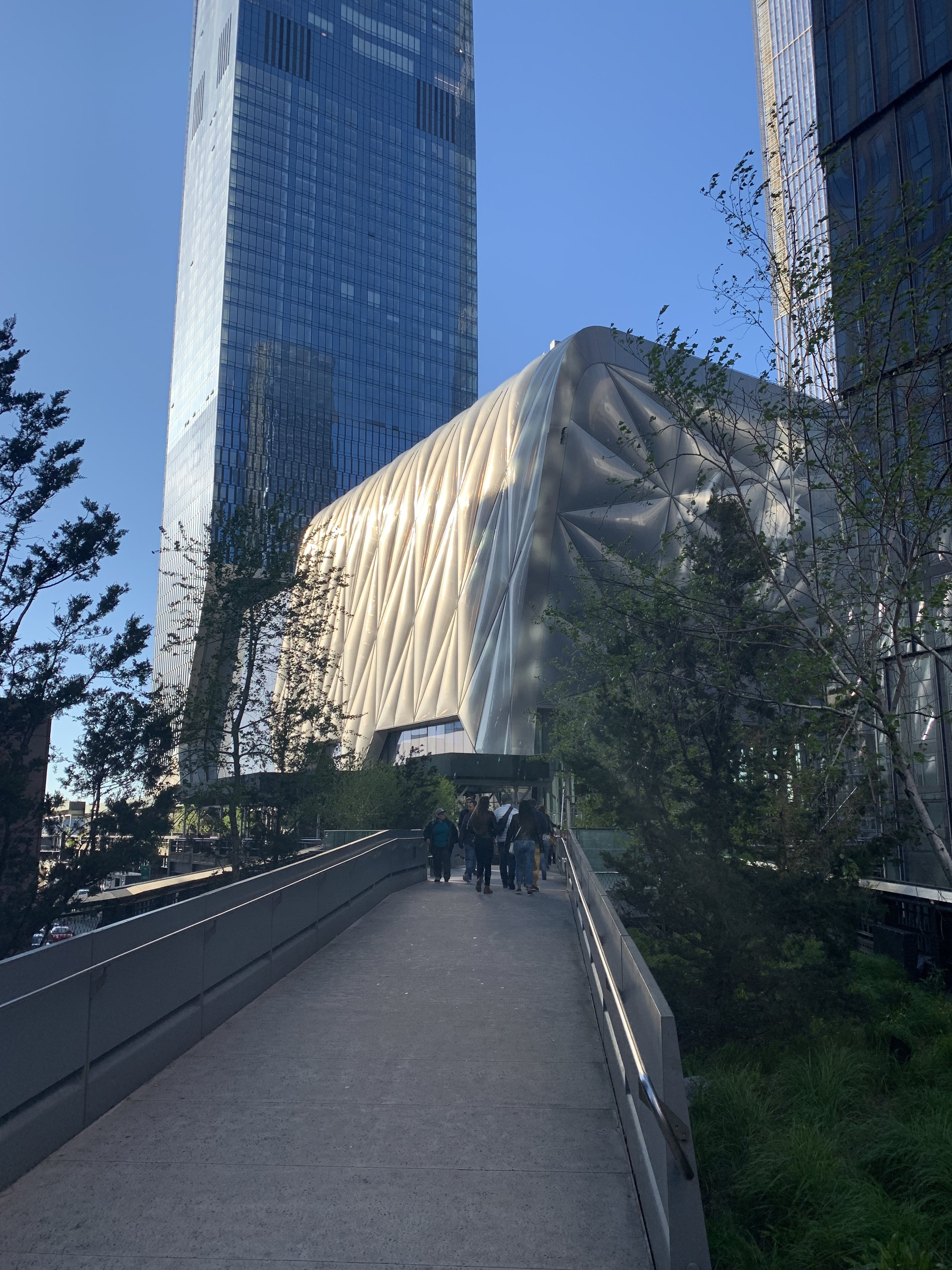 Just up the block from the Chelsea galleries is the High Line, which opens up into the futuristic Hudson Yards, here, with a view of the slick new facility, The Shed.