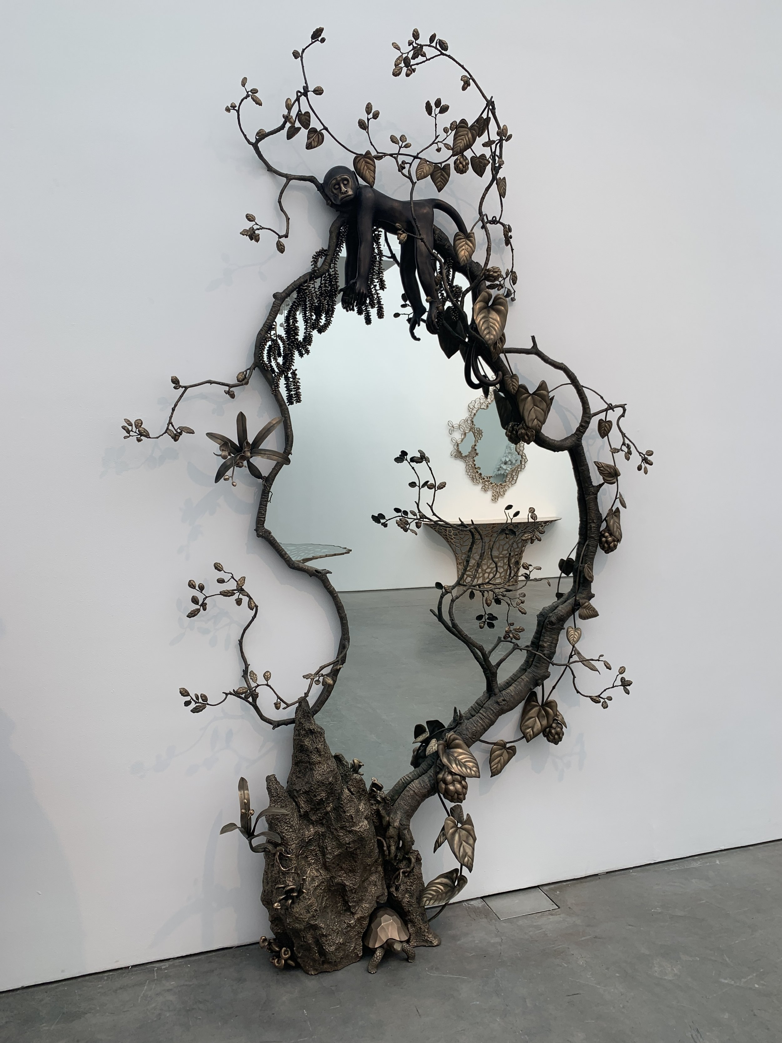 David Wiseman, Lost Valley Mirror, 2019, bronze and glass, 114 x 70 x 15 inches. Photographed by myself, as installed at the Paul Kasmin gallery.
