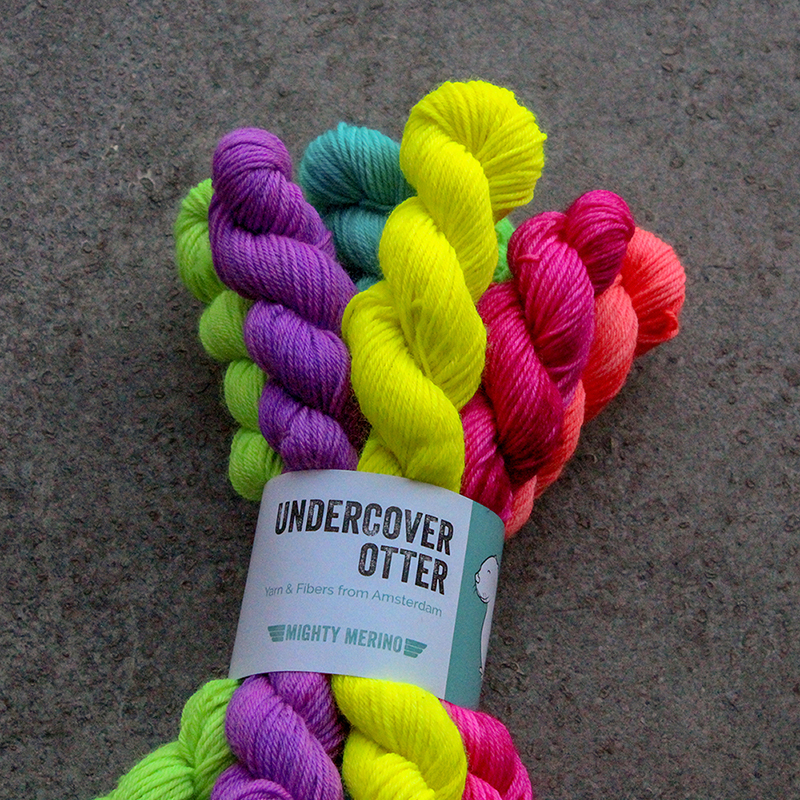 UNDERCOVER OTTER  Undercover Otter assaults your retinas with brightly coloured yarn and fibres hand dyed in Amsterdam, the Netherlands. Their inspiration comes from classic horror movies, modern gore-fests and post-apocalyptic science fiction.