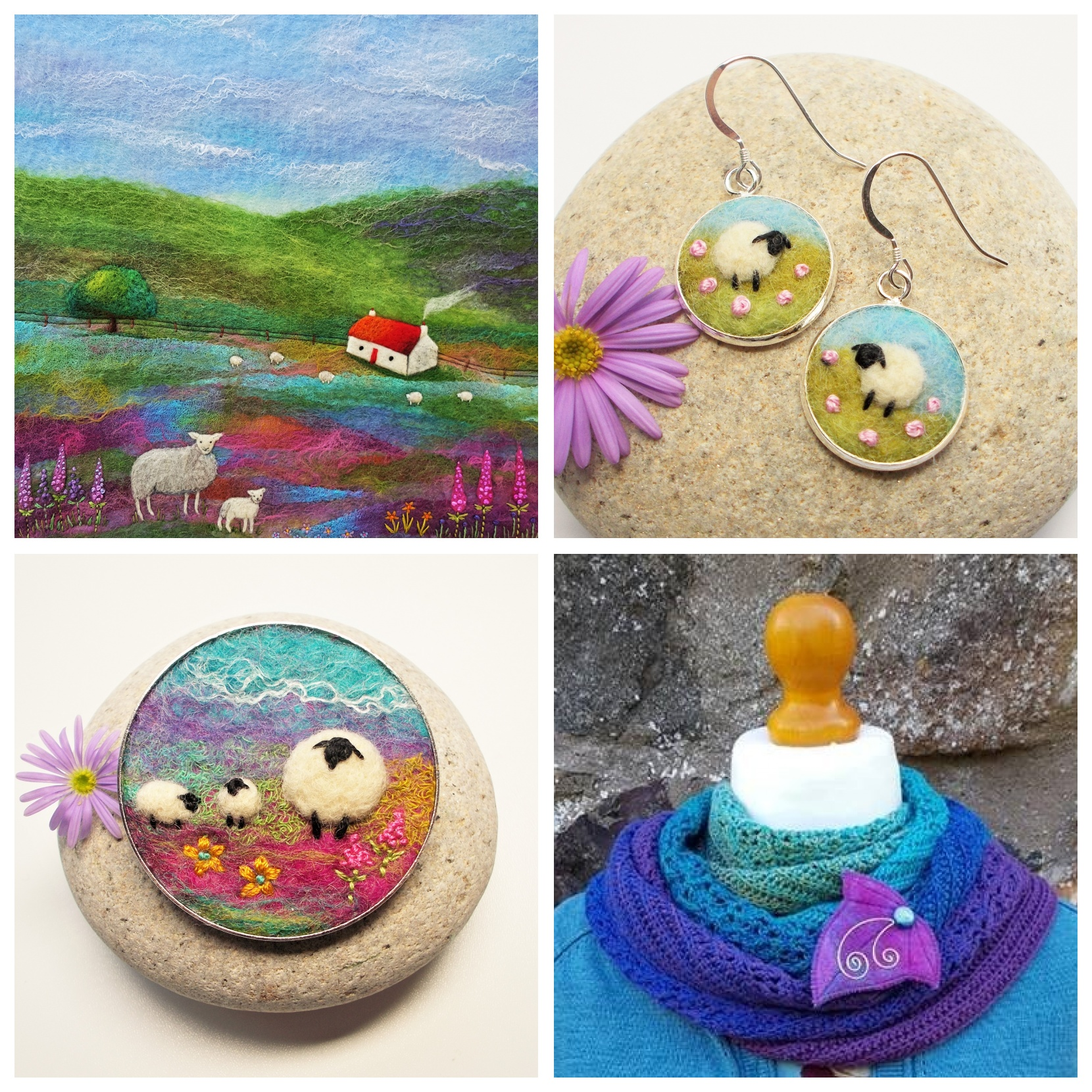 Aileen Clarke Crafts   Aileen makes a wide variety of felt art and accessories including her ever popular Sheep Collection of needle felted brooches, pendants, earrings and shawl pins. Aileen will also be bringing framed originals and textile trinket boxes to Make::Wool 2019 as well as a selection of useful items featuring her artwork in print.