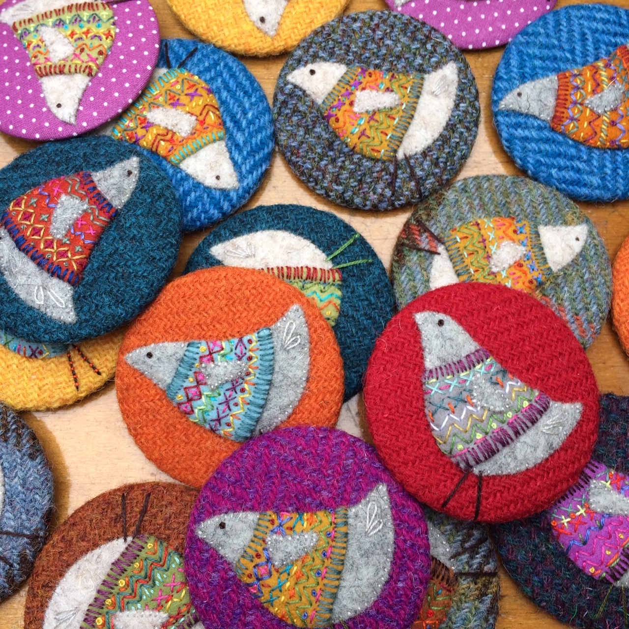 Stitchbirdie   Alongside her popular badges (look out for this years new design!) Lorna will be bringing the beautiful tweed pouches she makes in collaboration with Julia @woollenflower and for the first time at EYF is excited to be showcasing new hand stitched knitting inspired artworks!