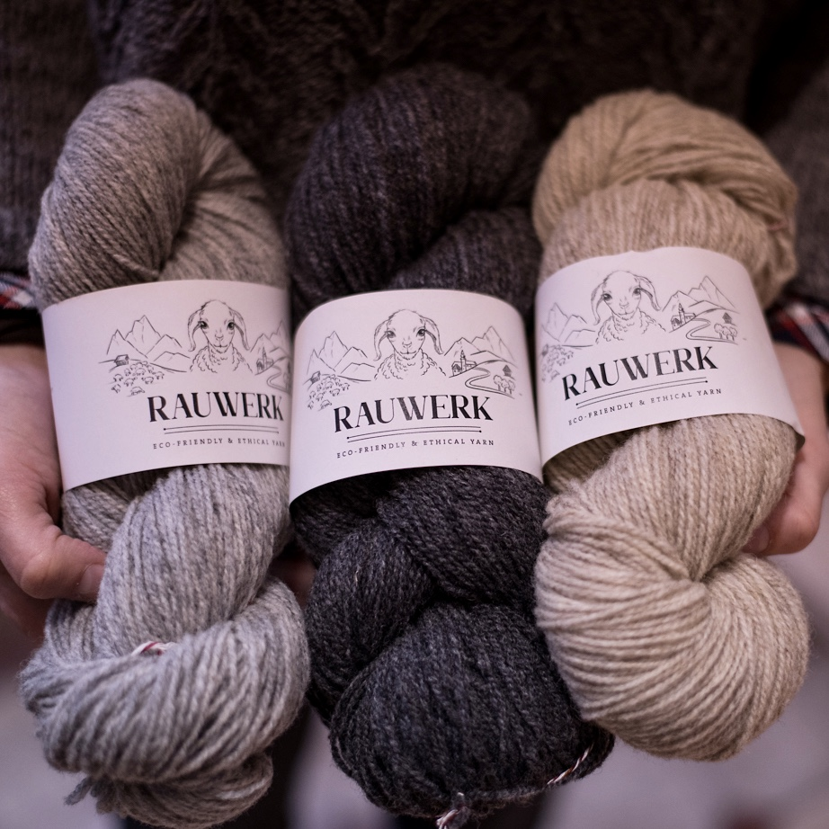 RAUWERK  Rauwerk Yarn, 100% woollen spun Merino Wool from a single flock in Munich. End of 2018 the new Rauwerk yarn sport weight was released. Like the first Rauwerk batch, it was again spun locally in the Alps and this time the yarn will be naturally dyed near Munich as well.