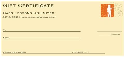 Skype Bass Lesson Gift Certificate