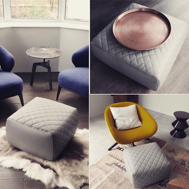 Minotti Ashley pouf so versatile as a seat, low table or footrest ❤️the gold zipper and quilt details #interiordesign #interior #interiorstyling #interiors #accessories #homedecor #homedecoration #pouf #furniture #minotti #B&B #home #homeadore