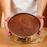 Traditional pound cake in a spring form pan.